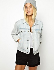 ASOS Cropped Denim Boyfriend Jacket in Bleach Wash