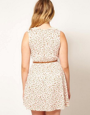 Image 2 of ASOS CURVE Skater Dress in Ditsy Print with Crochet Collar