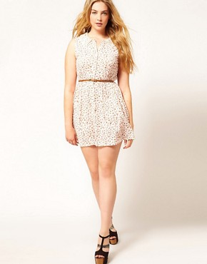Image 4 of ASOS CURVE Skater Dress in Ditsy Print with Crochet Collar