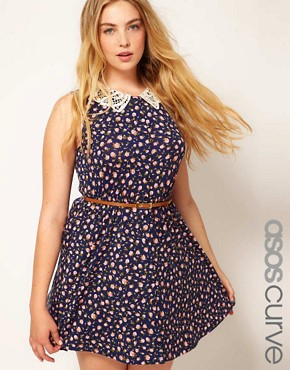 Image 1 of ASOS CURVE Skater Dress in Ditsy Print with Crochet Collar