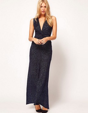 Image 4 ofASOS PETITE Exclusive Maxi Dress With Deep V Plunge Neck