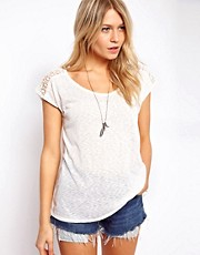 Oasis Scoop Neck Lace Shoulder Tee