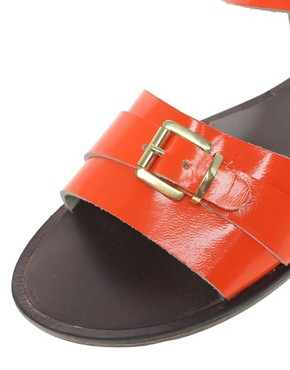 Image 2 ofASOS FEARNE Leather Flat Sandals With Buckle Detail