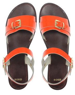 Image 3 ofASOS FEARNE Leather Flat Sandals With Buckle Detail