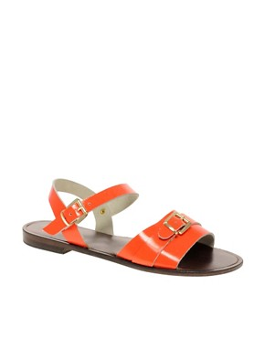 Image 1 ofASOS FEARNE Leather Flat Sandals With Buckle Detail