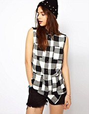River Island Sleeveless Check Western Shirt