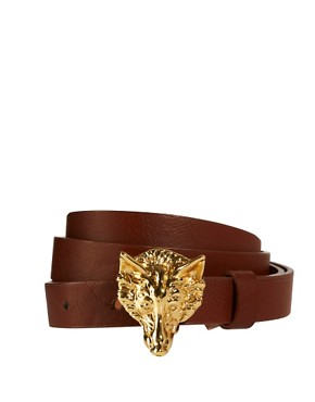 Image 1 ofASOS Fox Buckle Skinny Waist Belt