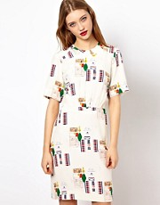 Peter Jensen Silk Dress in Memorabilia Print