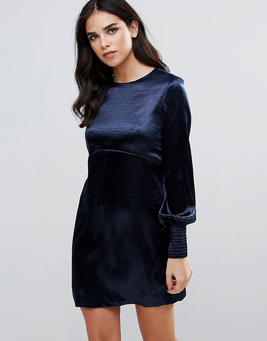 Traffic People Bell Sleeve Satin Shift Dress