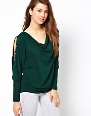 Wal G Knitted Cold Shoulder Top With Studs