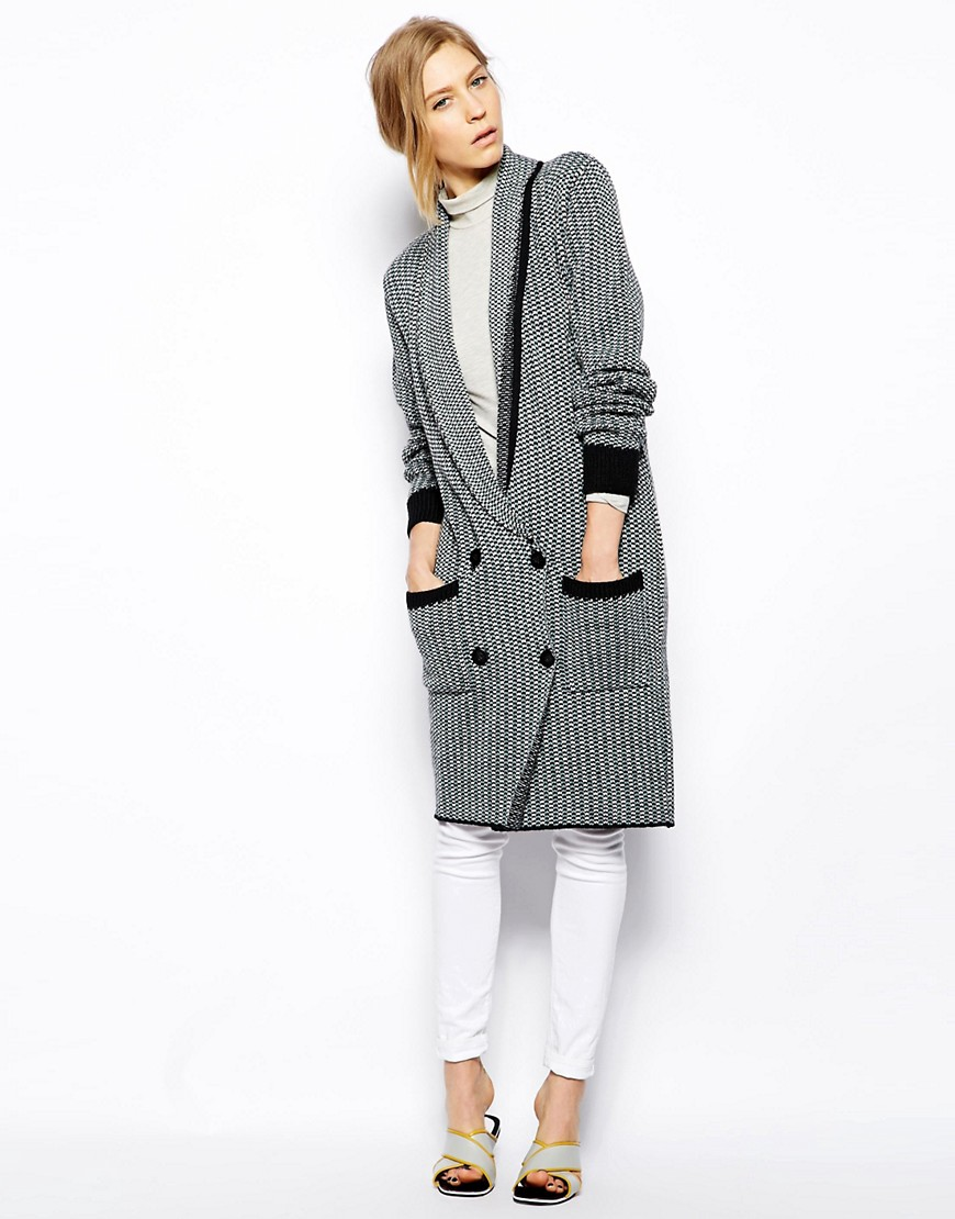 Le Mont St Michel Merino Wool Mix Shawl Collar Jacket With Front Pockets - Grey