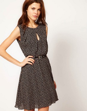 Image 1 ofWarehouse Bow Print Mini Dress