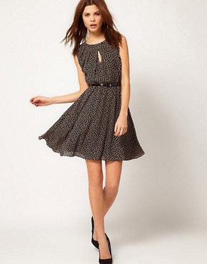 Image 4 ofWarehouse Bow Print Mini Dress