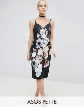 ASOS PETITE Hitchcock Midi Pencil Dress In Dark Floral