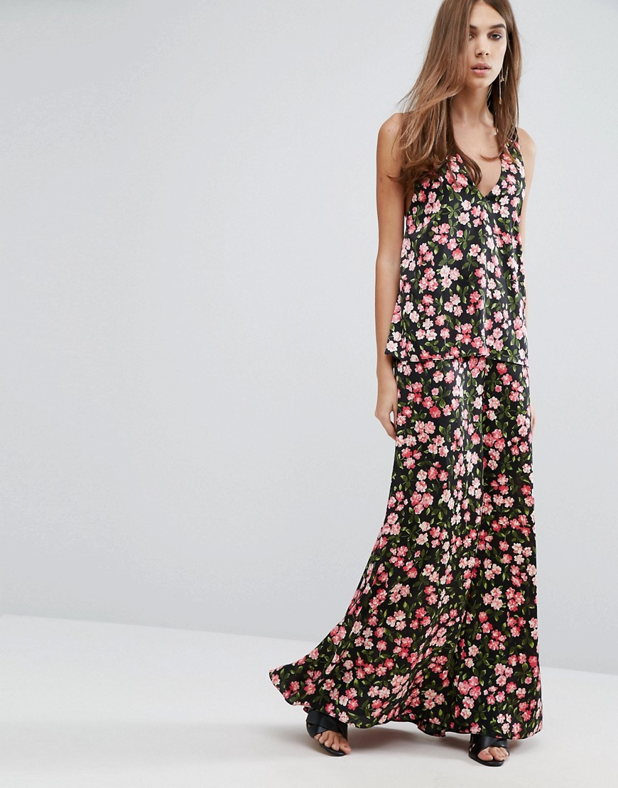 Warehouse Cherry Blossom Printed Cross Back Maxi Dress - Black