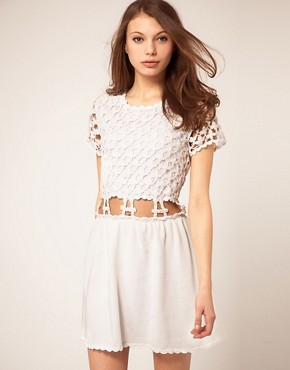 Image 1 ofASOS Crochet Village Fit and Flare Dress