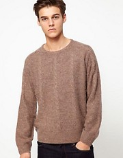 Velour Jumper With Cable Knit