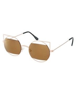 Image 1 of ASOS Metal Kitten Sunglasses With Cut Away Lens Detail