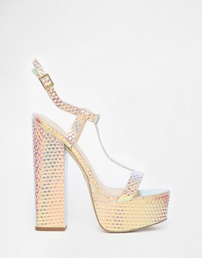 River Island Chunky Block Heel Disco Sandals