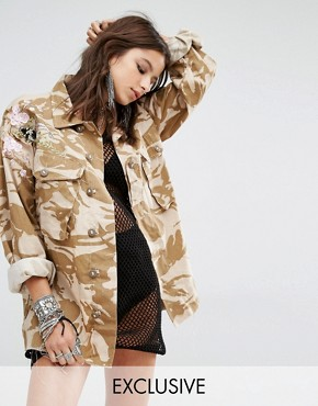 Milk It Vintage Oversized Military Jacket In Light Camo With Floral Embroidery