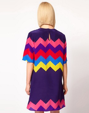 Image 2 ofHouse of Holland Oversized Tee Dress in Silk Zig Zag