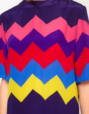 Image 3 ofHouse of Holland Oversized Tee Dress in Silk Zig Zag