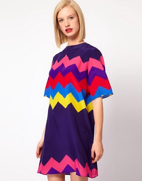Image 1 ofHouse of Holland Oversized Tee Dress in Silk Zig Zag