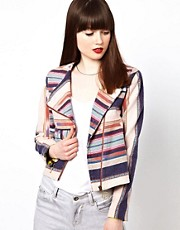 Eleven Paris Aztec Stripe Biker Jacket
