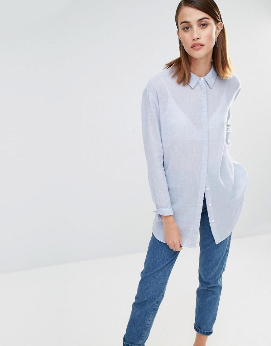 Рубашка в полоску с длинными рукавами Selected Crissie - Синий