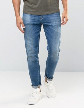 ASOS Skinny High Rise Jeans In Mid Wash