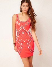 Lipsy Tribal Beaded Neon Dress