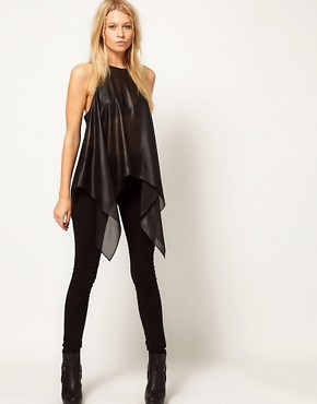 Image 4 ofASOS Wet Look Top With Dipped Sides