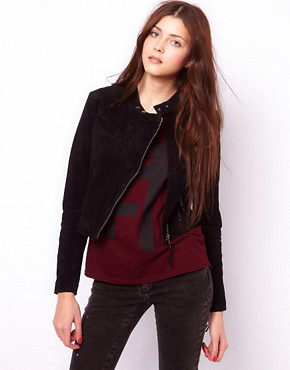 Image 1 ofVero Moda Suede Biker Jacket