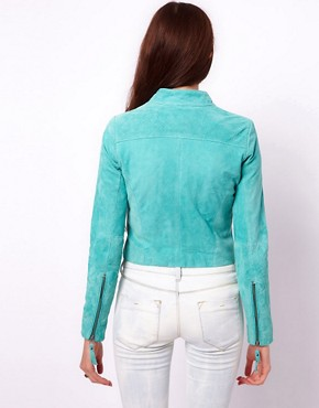 Image 2 ofVero Moda Suede Biker Jacket