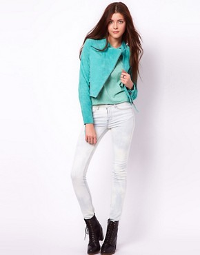 Image 4 ofVero Moda Suede Biker Jacket