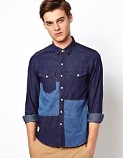 Black Chocoolate Patchwork Denim Shirt