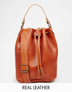 Grafea Duffle Bucket Bag in Tan Leather