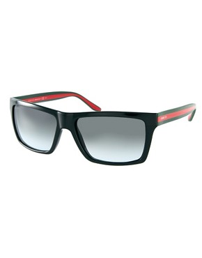 Image 1 ofGucci Black Green And Red Square Frame Sunglasses
