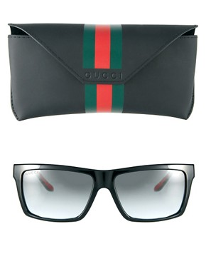 Image 2 ofGucci Black Green And Red Square Frame Sunglasses