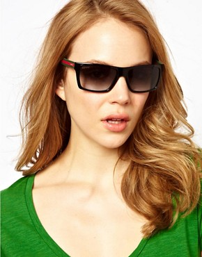 Image 3 ofGucci Black Green And Red Square Frame Sunglasses