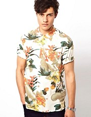Lightning Bolt Printed Flower Aloha Shirt