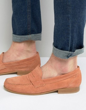 ASOS Penny Loafers In Coral Suede With Natural Sole