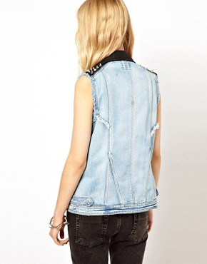 Image 2 ofRiver Island Denim Studded Gilet