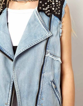 Image 3 ofRiver Island Denim Studded Gilet