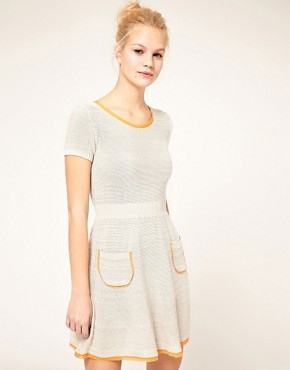 Image 1 ofASOS Knitted Fit and Flare Dress with Contrast Trim