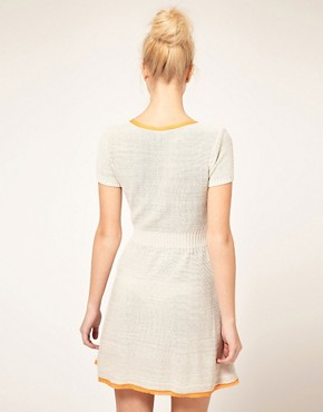 Image 2 ofASOS Knitted Fit and Flare Dress with Contrast Trim