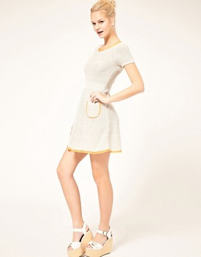 Image 4 ofASOS Knitted Fit and Flare Dress with Contrast Trim