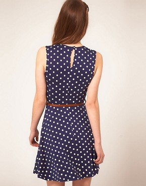 Image 2 ofASOS Sleeveless Skater Dress With Belt In Spot Print