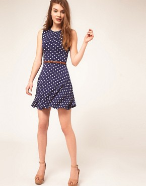 Image 4 ofASOS Sleeveless Skater Dress With Belt In Spot Print
