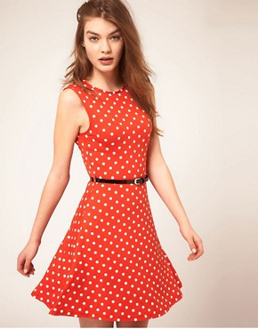 Image 1 ofASOS Sleeveless Skater Dress With Belt In Spot Print